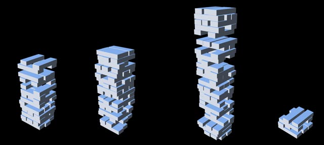 All of these Jenga towers were generated from the same 8 lines of Kiwi code.